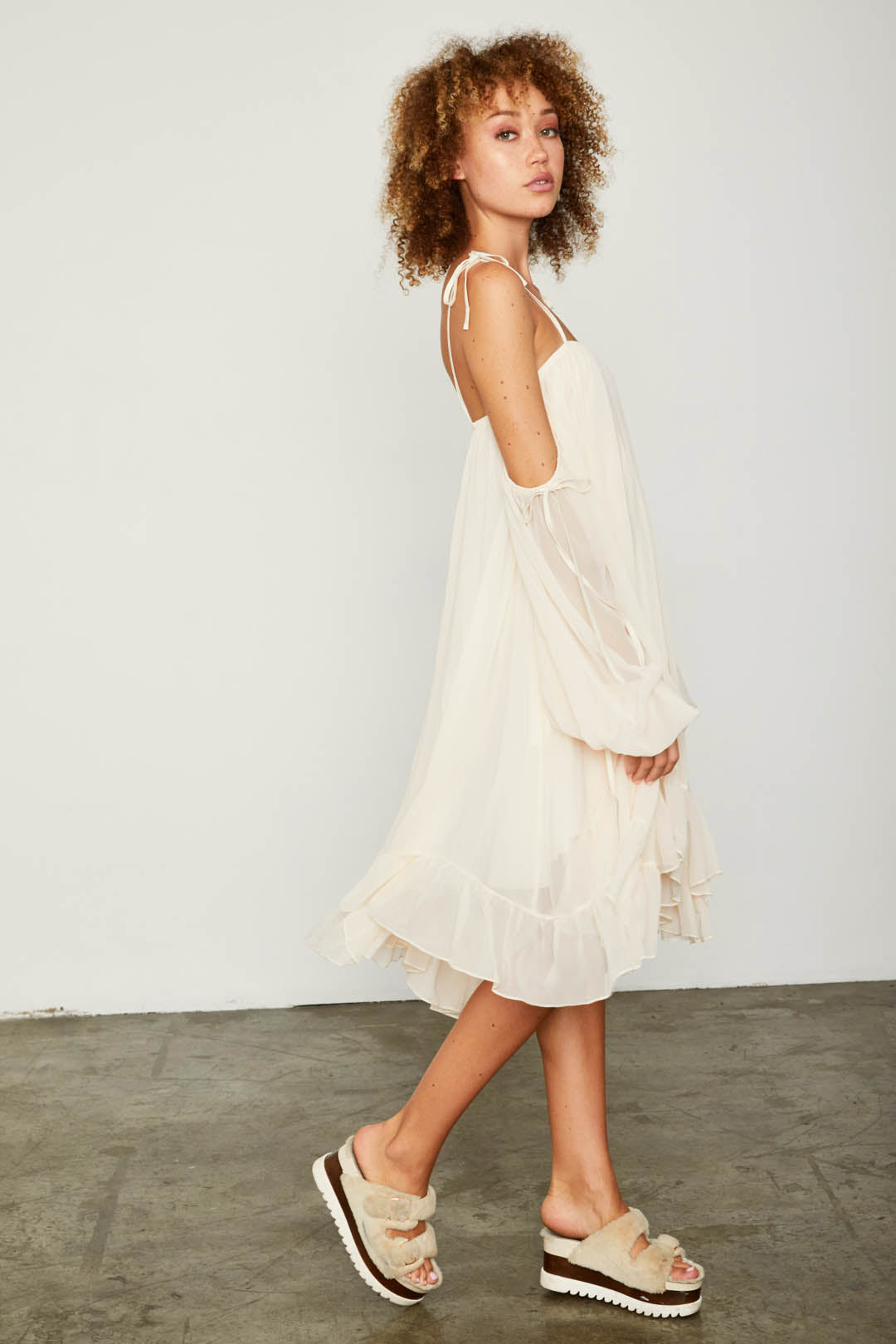 creme off the shoulder chiffon flowy dress with ruffles