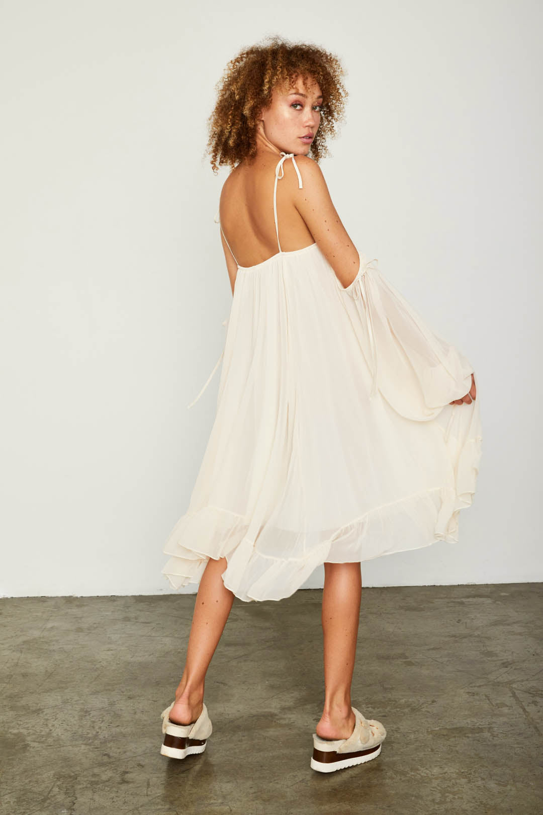 yellow off the shoulder chiffon flowy dress with ruffles
