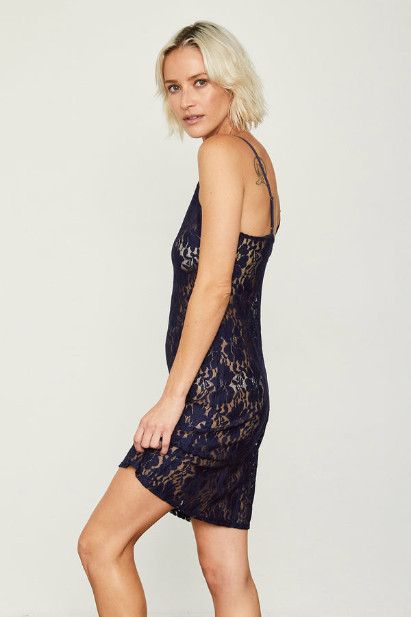 navy blue mini lace slip machine washable v neck
