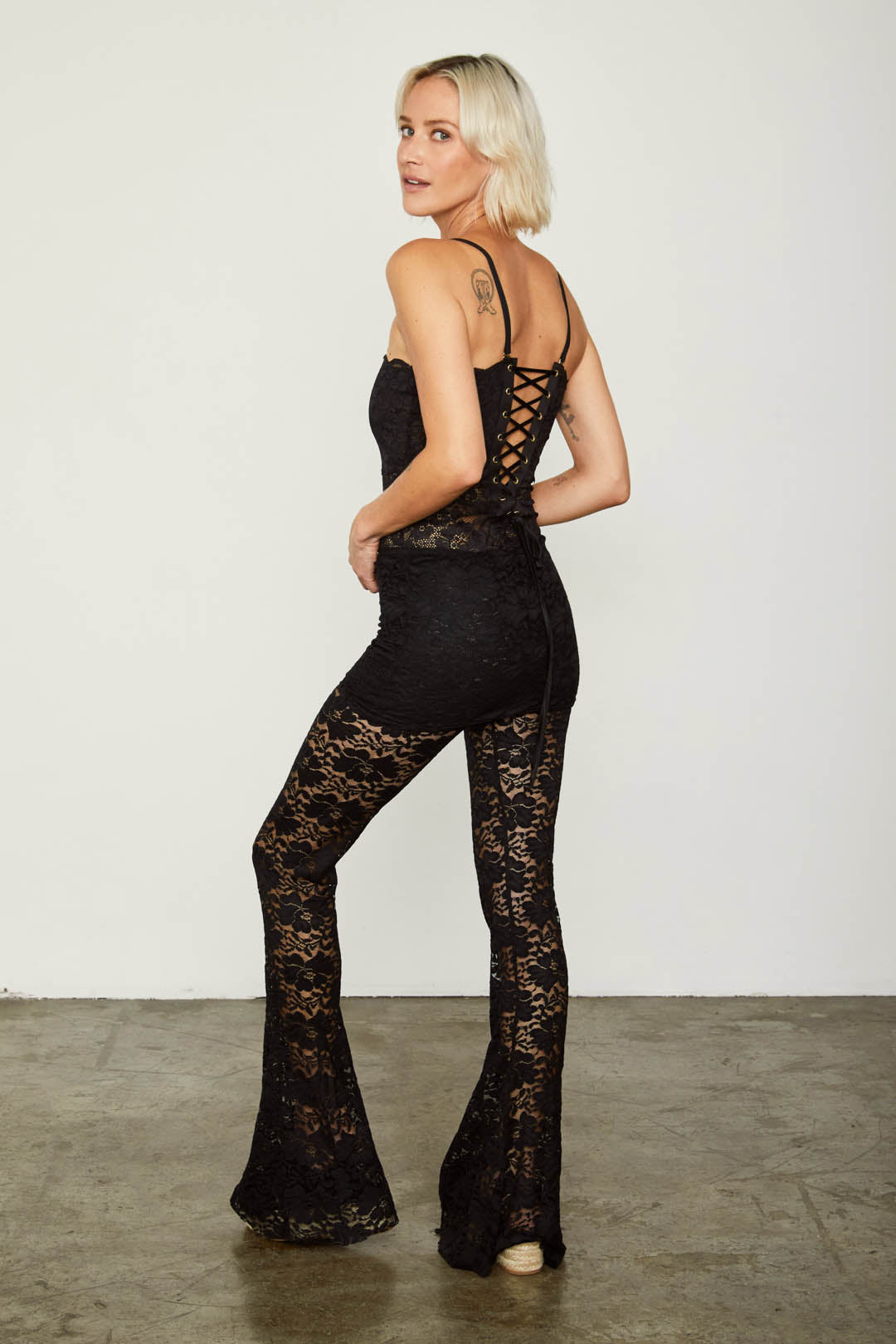 brown lace flare vintage inspired pant adjustable jumpsuit