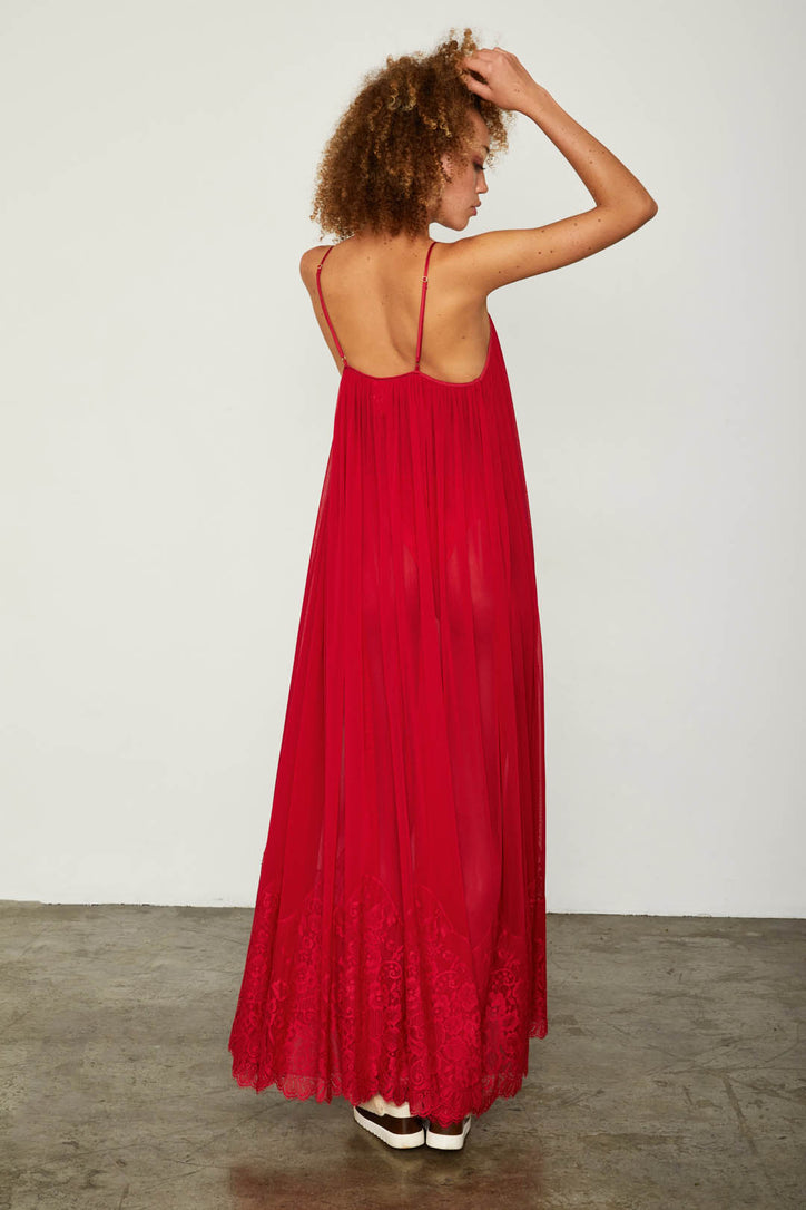 red mesh and lace sheer long maxi dress