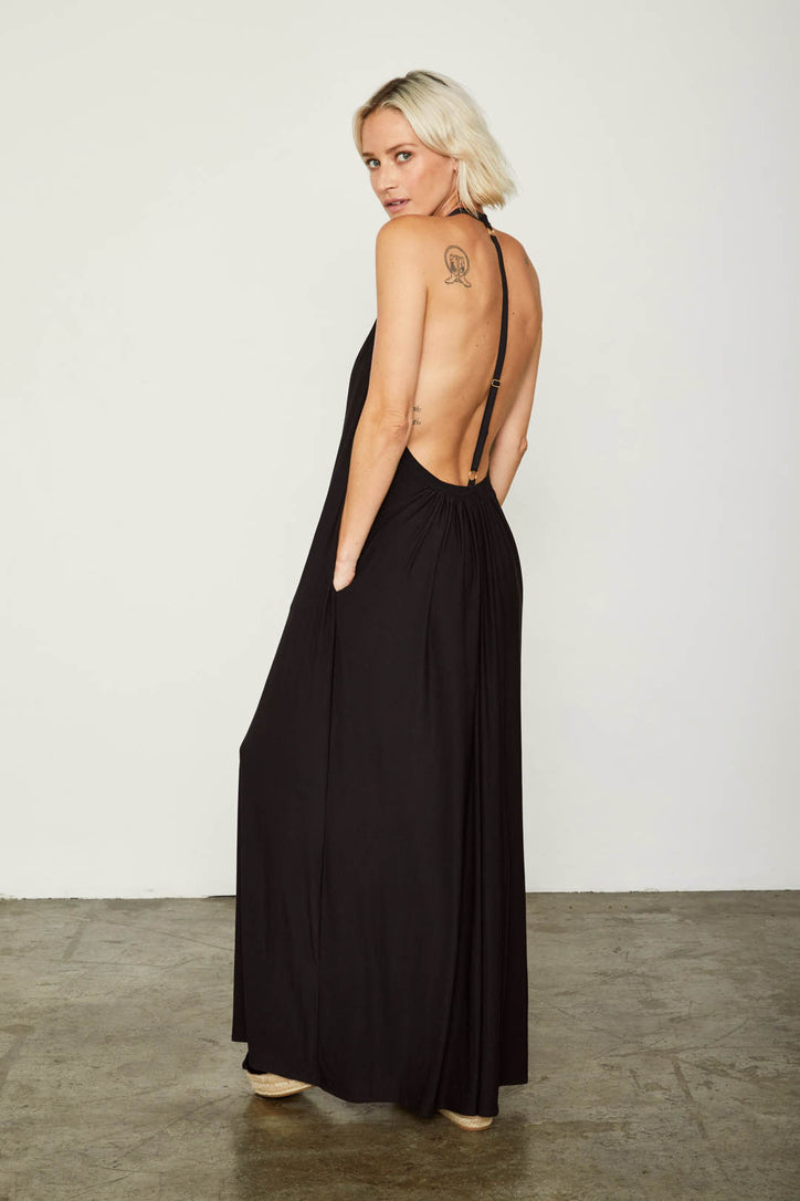 black knit halter v neck dress low back machine washable