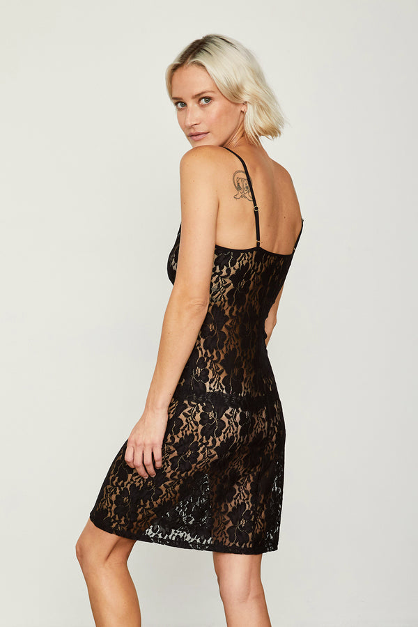 black mini lace slip machine washable v neck