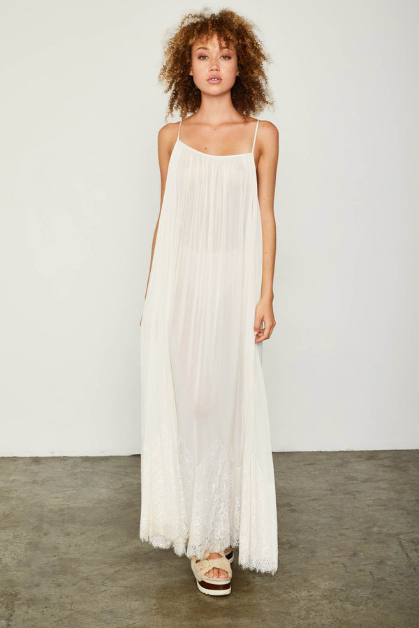 white mesh and lace sheer long maxi dress
