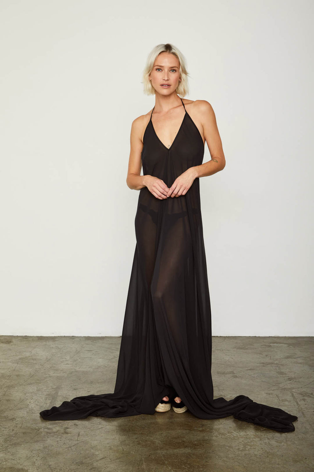 black chiffon halter neck dress long sides machine washable