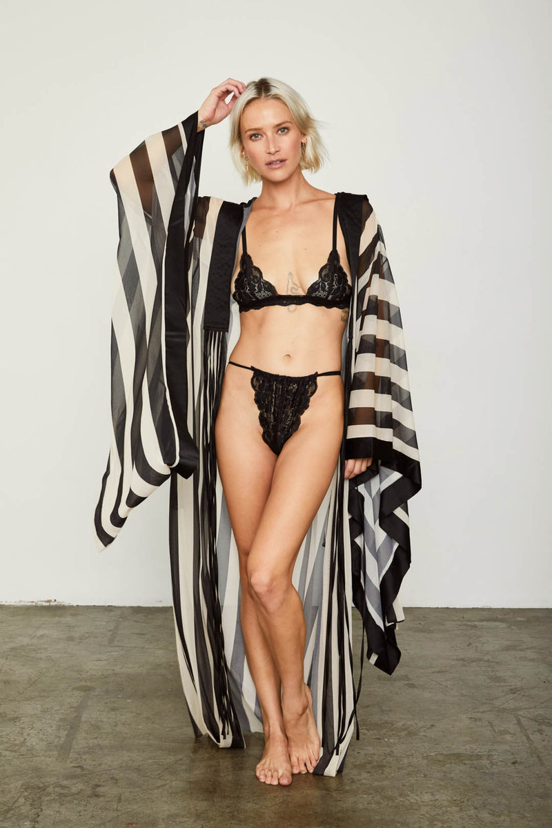 black and white striped mesh vintage inspired kimono with hood machine washable