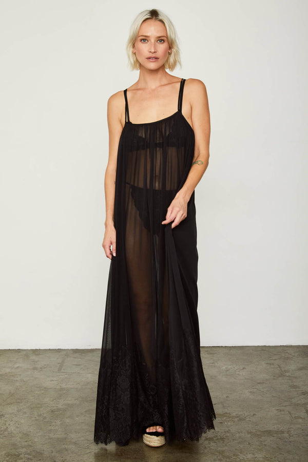 black mesh and lace sheer long maxi dress
