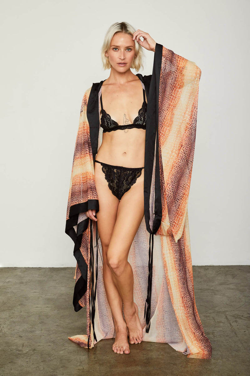 snakeskin print mesh vintage inspired kimono machine washable