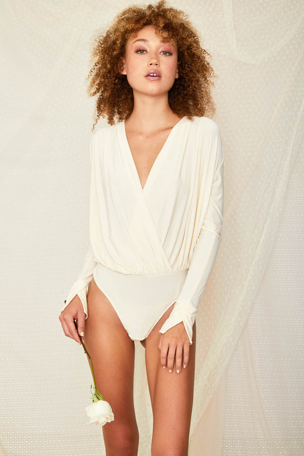 creme white knit v neck bodysuit open back machine washable