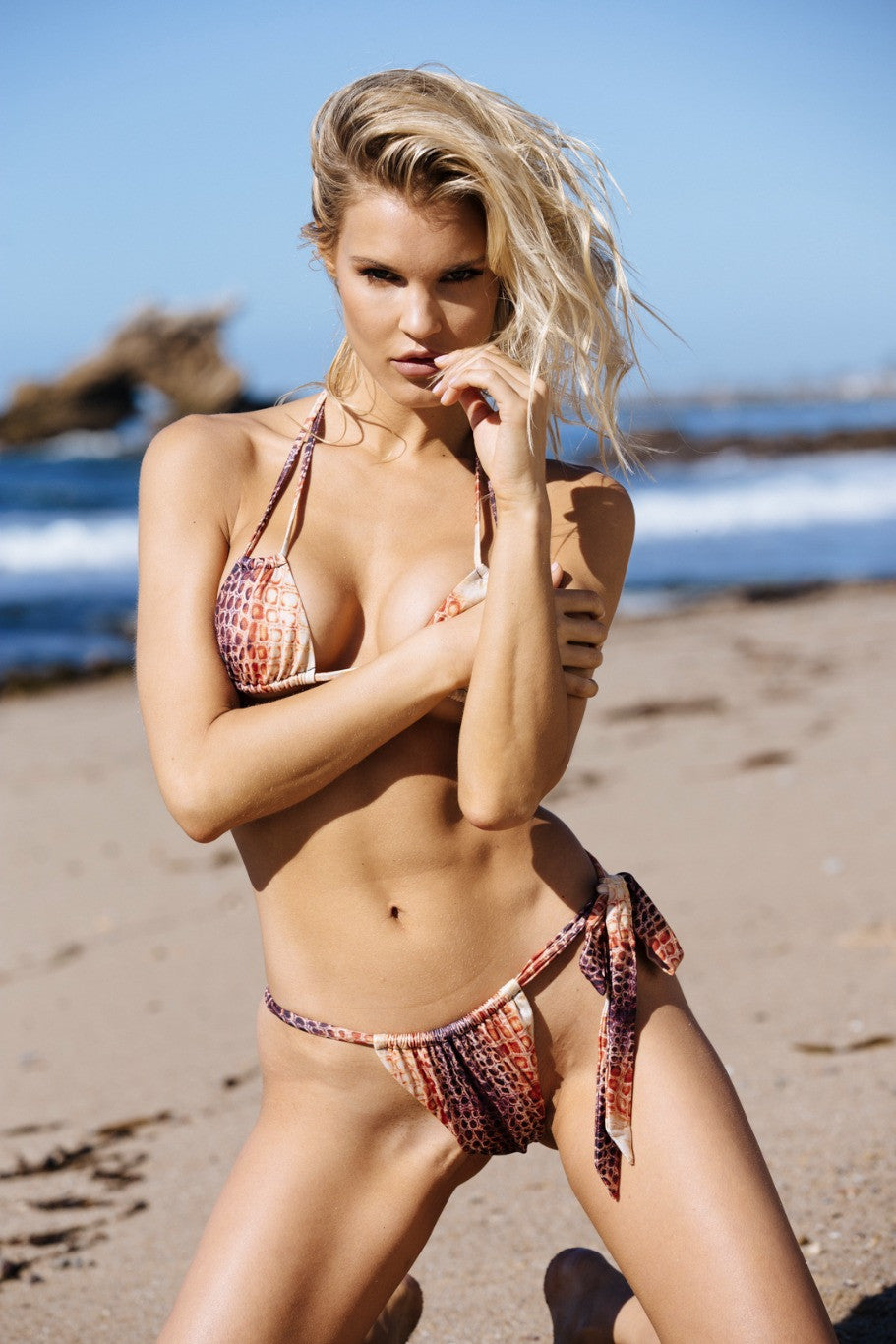 snakeskin print vintage inspired side-tie cheeky bikini bottom eco-friendly & sustainable fabric