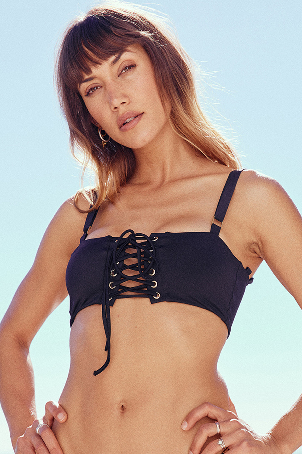Black lace-up bandeau vintage inspired bikini top eco-friendly & sustainable fabric