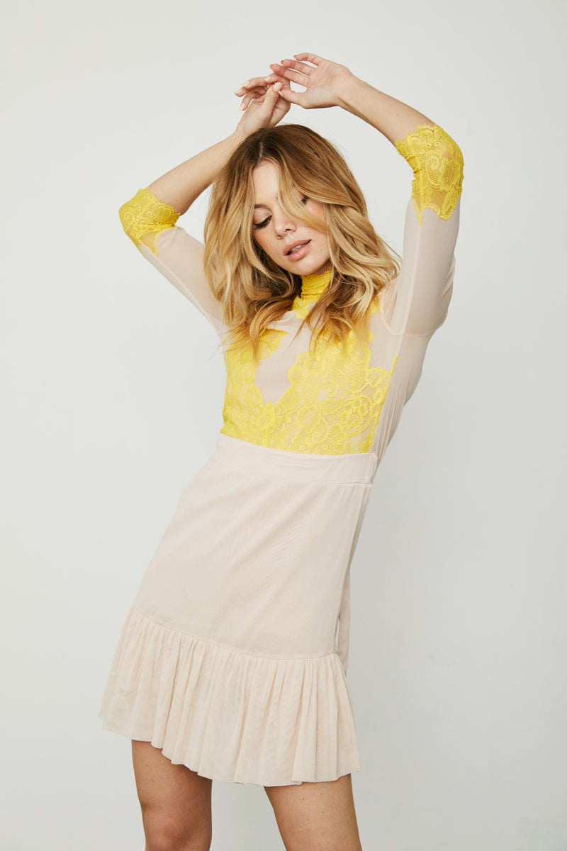 pink and yellow reversible v neck high neck vintage inspired mini dress cinched waist tiered bottom