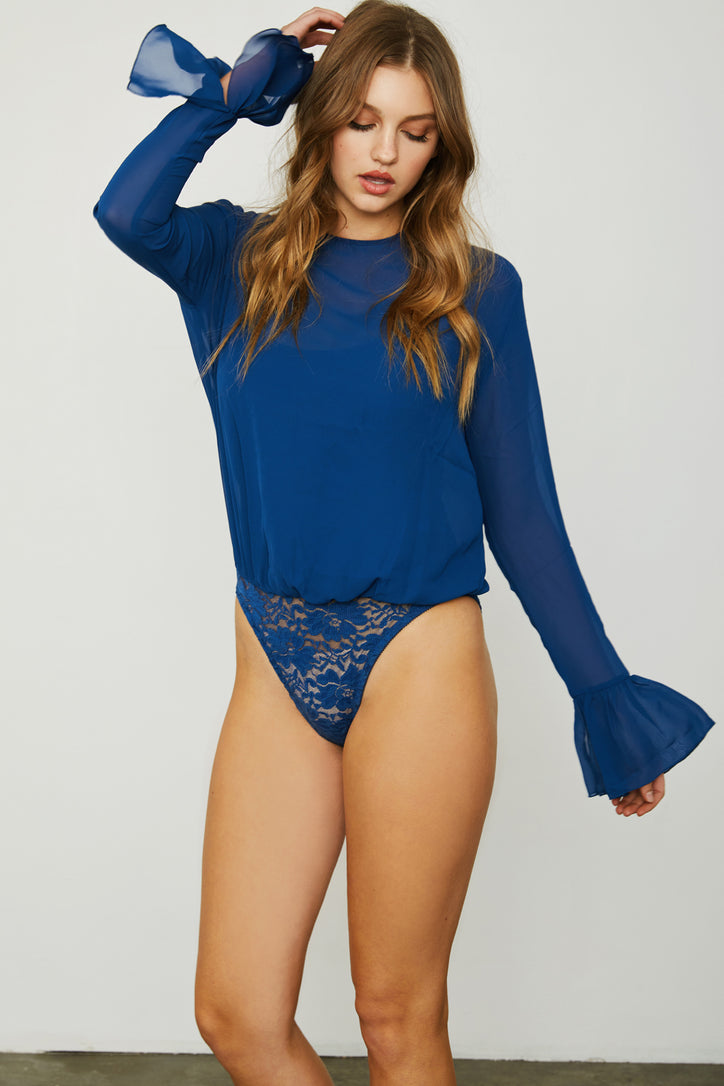 dark blue chiffon bodysuit with lace underlay and bell sleeve machine washable