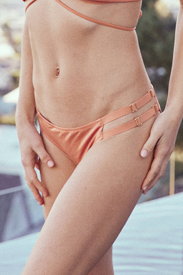 pink brown adjustable cheeky bikini bottom eco-friendly sustainable