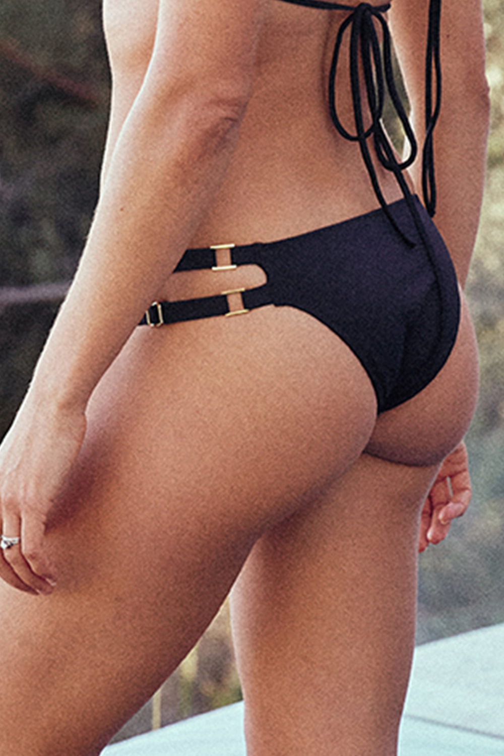 black adjustable cheeky bikini bottom eco-friendly sustainable