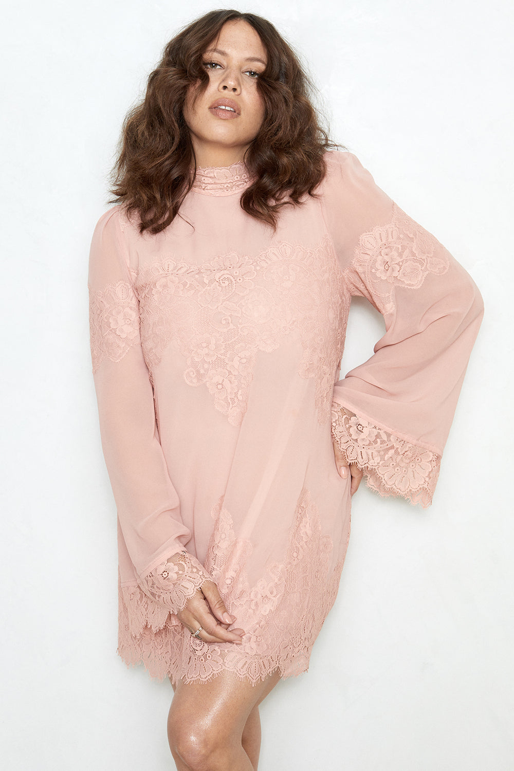 pink lace and chiffon victorian high neck long sleeve mini dress bell sleeves machine washable