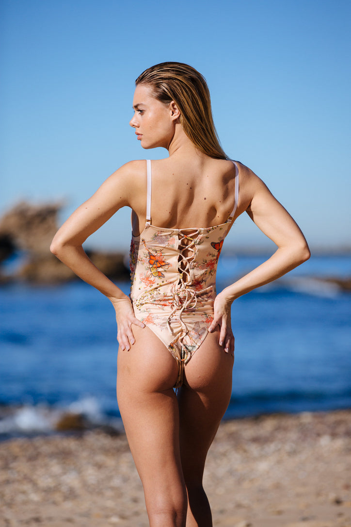 nude floral 1 piece reversible Moderate coverage adjustable eco-friendly & sustainable fabric