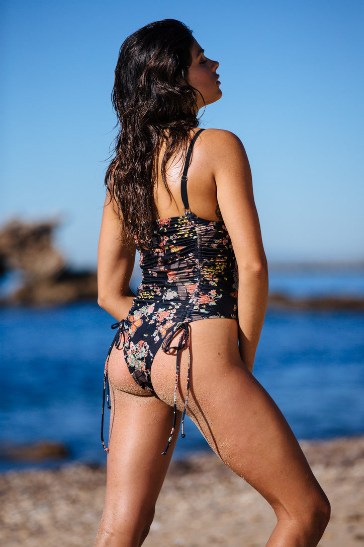 black floral 1 piece reversible Moderate coverage adjustable eco-friendly & sustainable fabric