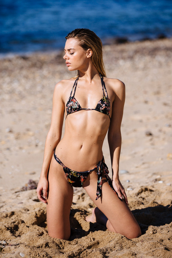 black floral print vintage inspired side-tie cheeky bikini bottom eco-friendly & sustainable fabric