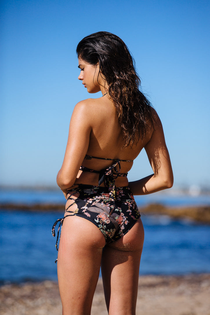 black floral vintage inspired high waisted bikini bottom moderate coverage eco-friendly & sustainable fabric