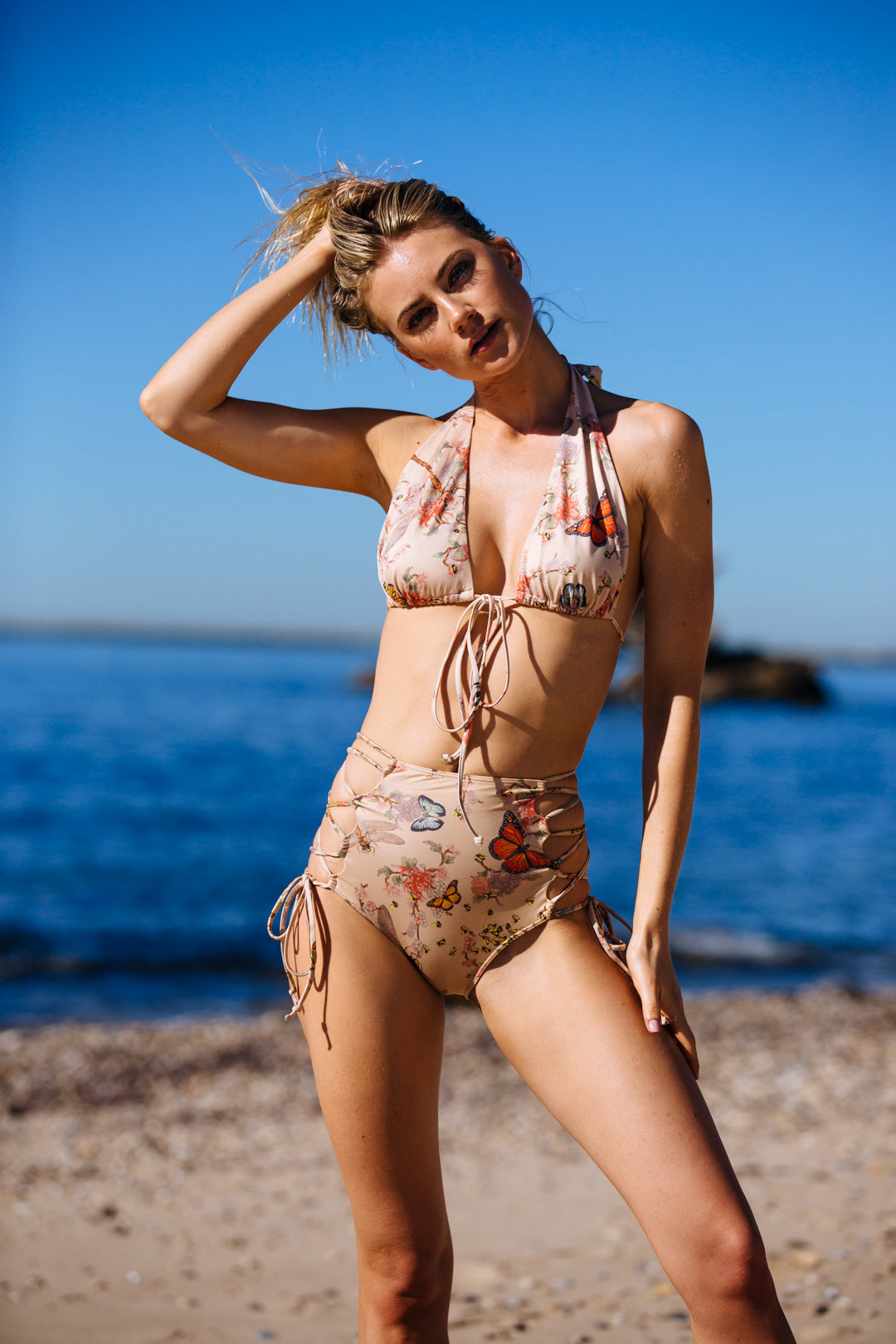 floral vintage inspired high waisted bikini bottom moderate coverage eco-friendly & sustainable fabric