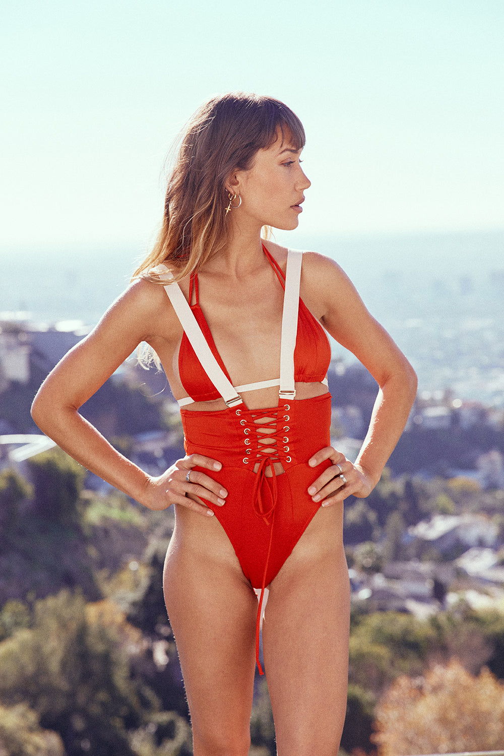 high waisted red suspender vintage inspired bikini bottom cheeky moderate eco-friendly sustainable