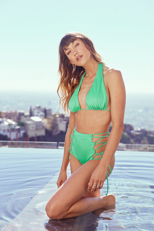 Light green vintage inspired multi-way halter bikini top full coverage adjustable eco-friendly & sustainable fabric