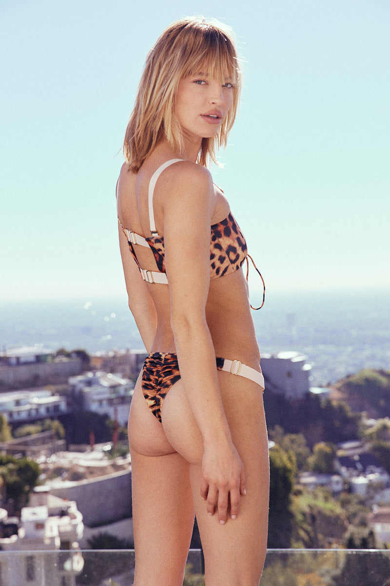 Leopard print  lace-up bandeau vintage inspired bikini top eco-friendly & sustainable fabric