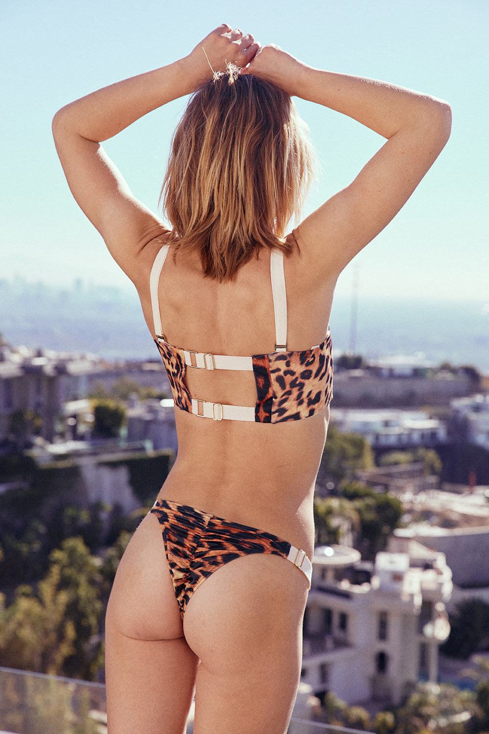 leopard print adjustable cheeky swimsuit bottom high-cut eco-friendly sustainable