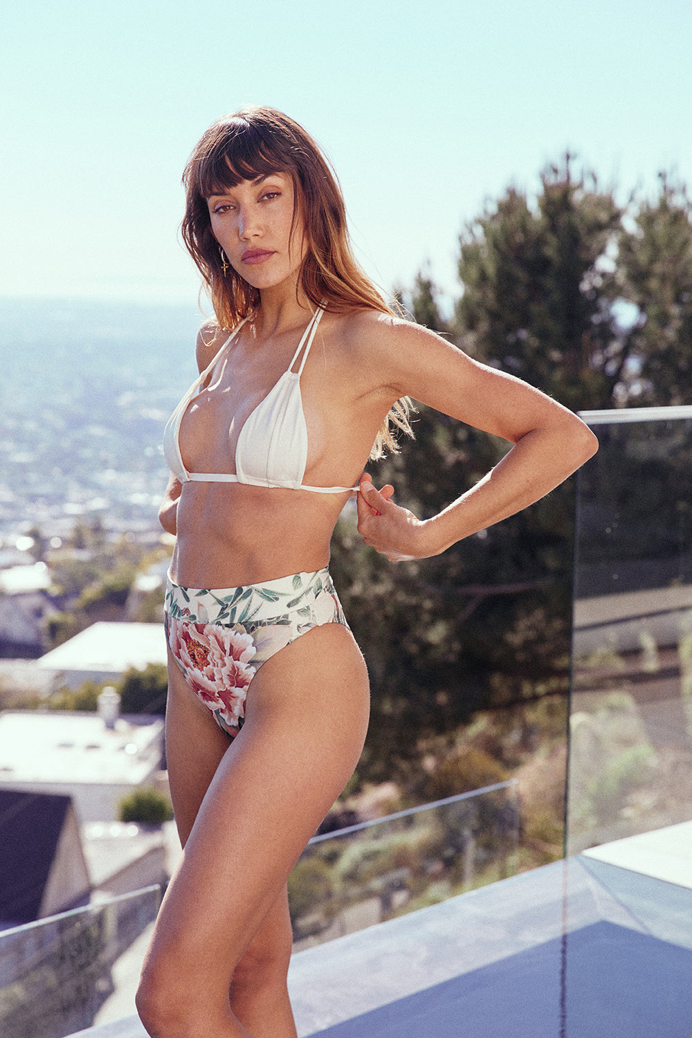 Floral print high waisted vintage inspired cheeky bikini bottom - eco-friendly & sustainable |  Model is wearing size S