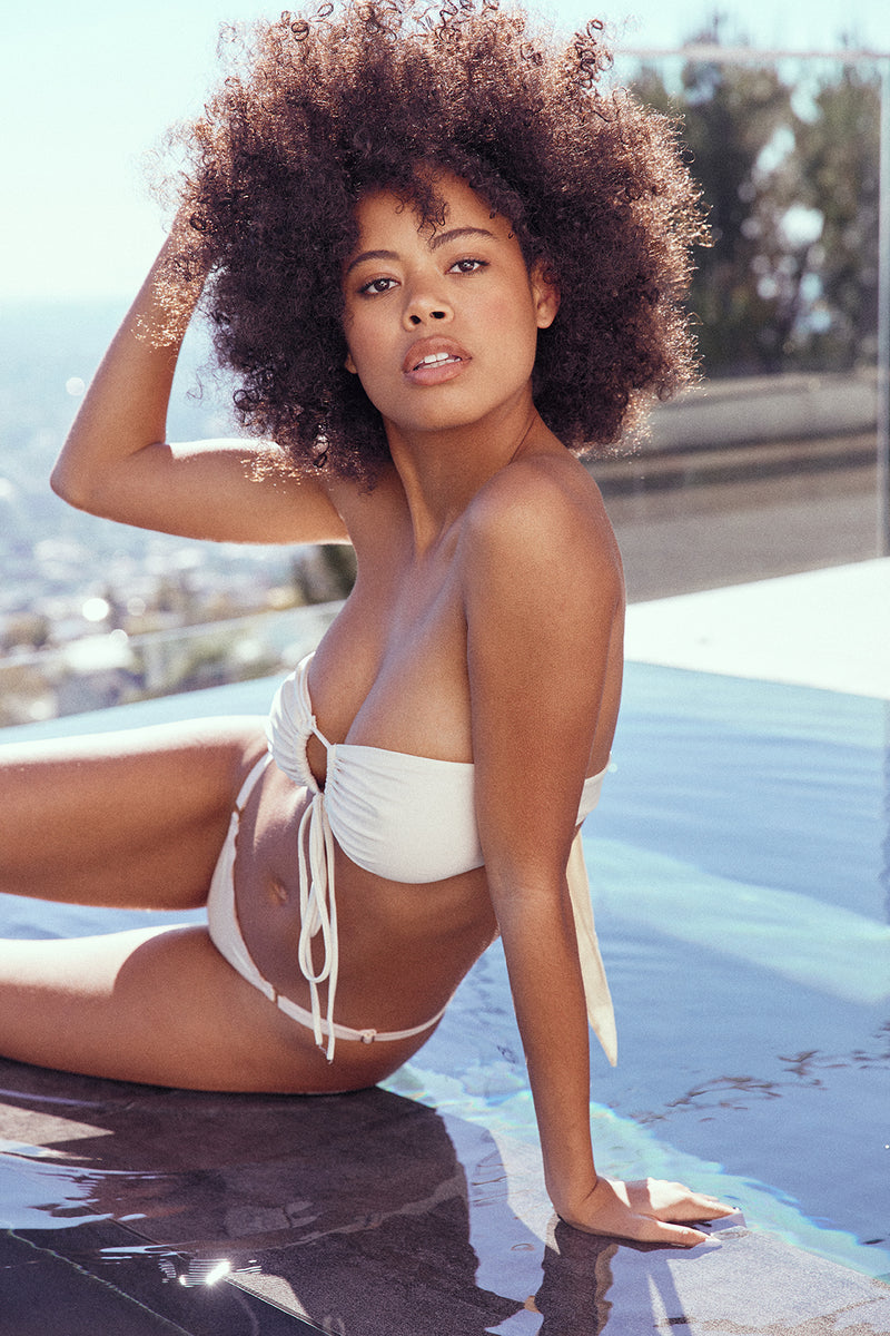 cream white color vintage inspired bikini bottom moderate coverage eco-friendly sustainable