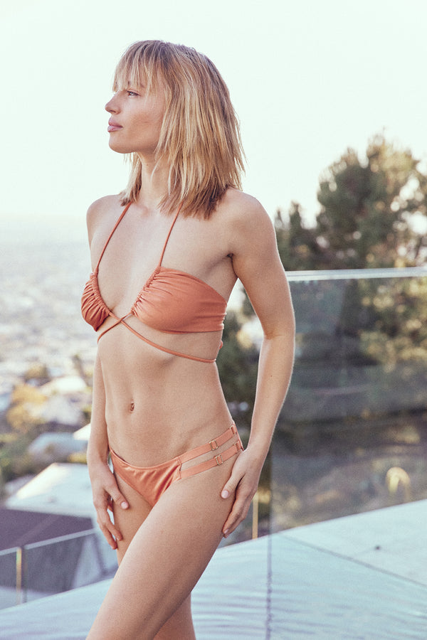 nude brown orange vintage inspired multi-way halter bikini top full coverage adjustable eco-friendly & sustainable fabric
