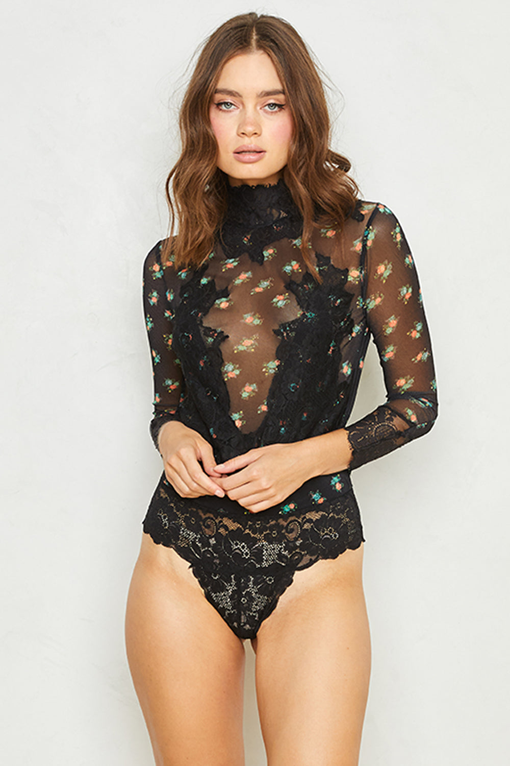 black floral print reversible vintage inspired mesh and lace high neck bodysuit