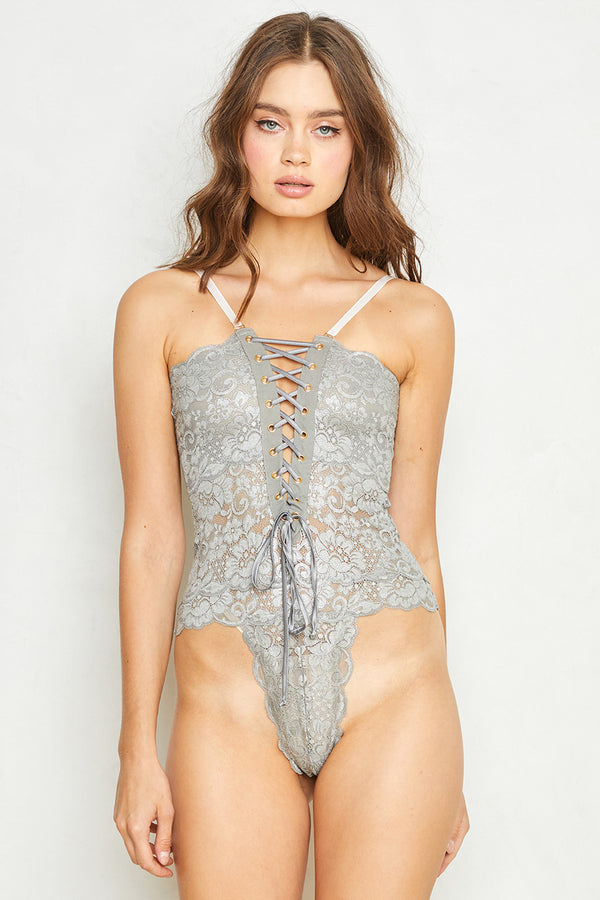 Spinster Reversible Lace Bodysuit | Silver Foil