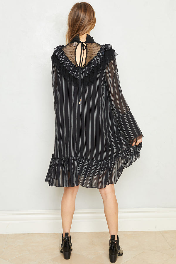 Heavy Necking Dress | Pin Stripe Noir