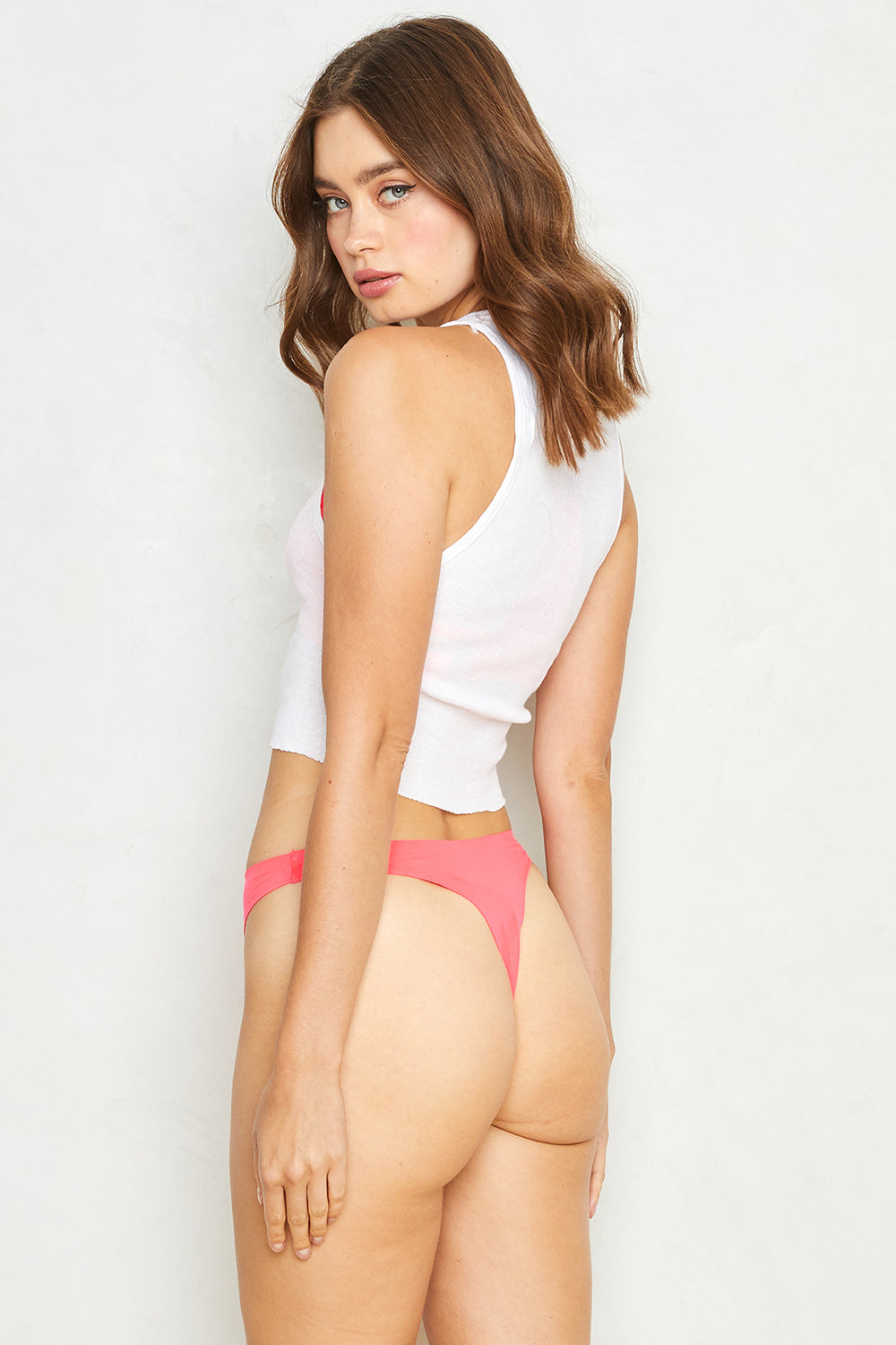 Hot pink high waisted thong panty, eco-friendly machine washable