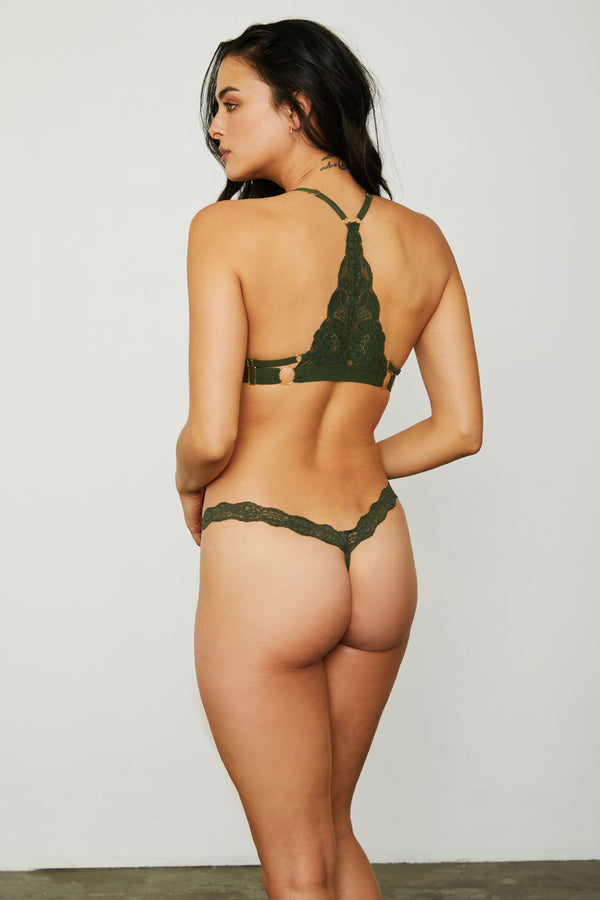 Dark green lace thong panty.
