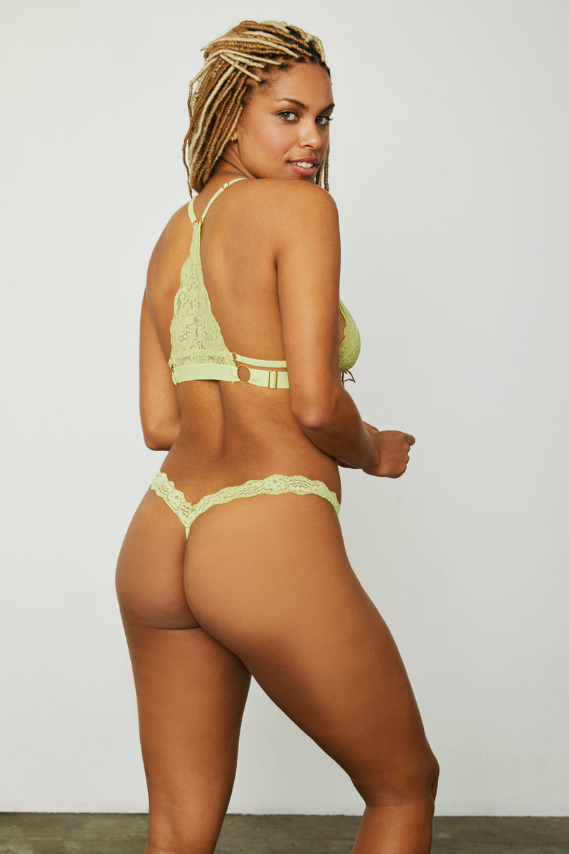 Light green lace thong panty.