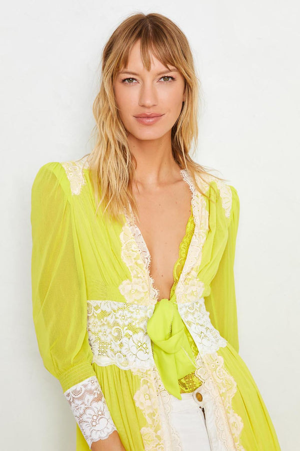Neon yellow long lace robe with a tie front. Machine washable. | Model is wearing size S