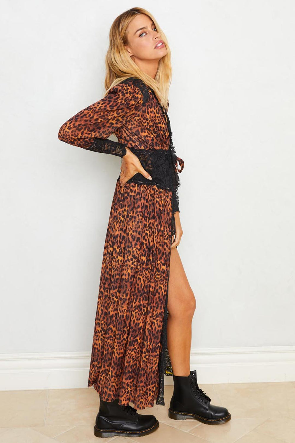 Leopard print long lace robe with a tie front. Machine washable.