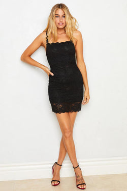 Black Lace Bodycon Dress With Adjustable Straps, Eco-Friendly Machine Washable