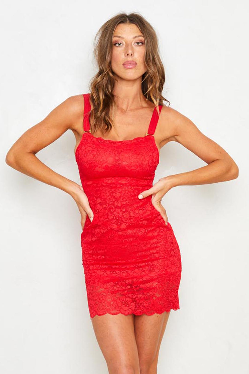 Red Lace Bodycon Dress With Adjustable Straps, Eco-Friendly Machine Washable
