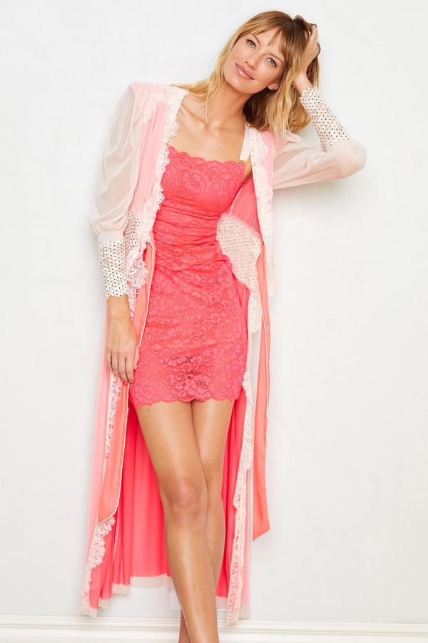Cream and pink long lace robe with a tie front. Machine washable.