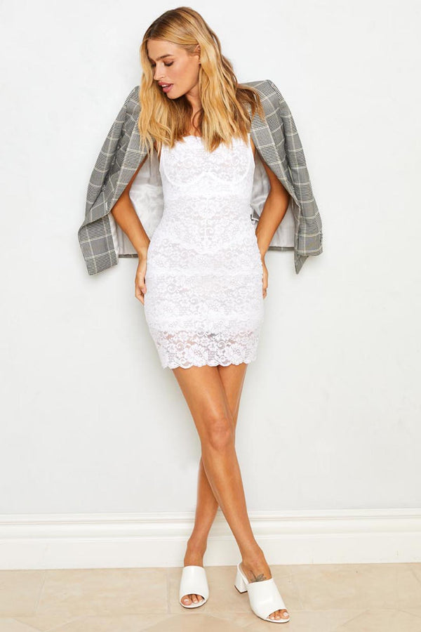 White Lace Bodycon Dress With Adjustable Straps, Eco-Friendly Machine Washable