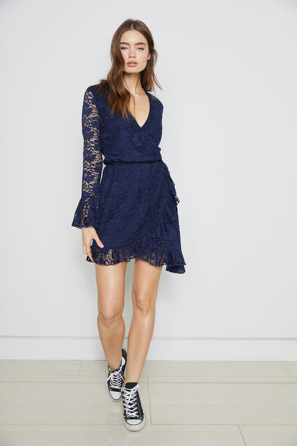 navy blue lace vintage inspired mini wrap dress machine washable