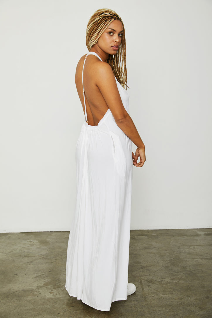 white knit halter v neck dress low back machine washable