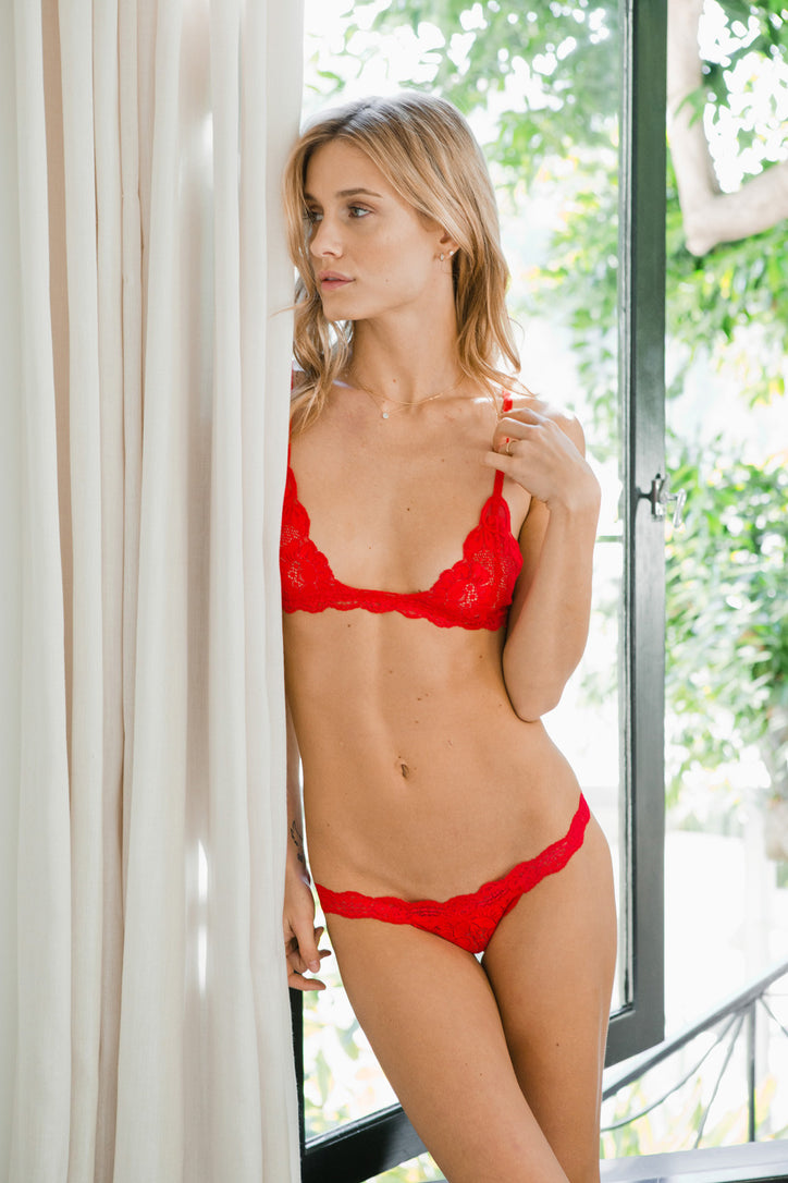 Red lacy t-string thong panty.