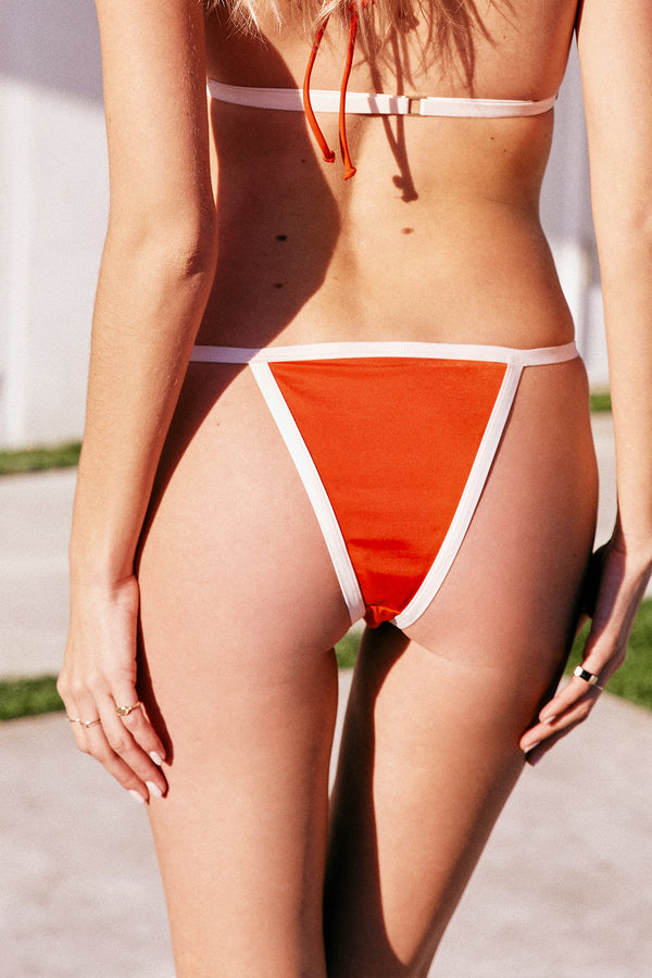red vintage inspired bikini bottom moderate coverage eco-friendly sustainable