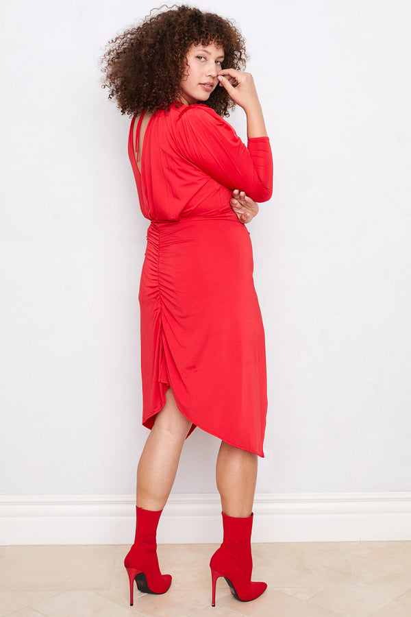 In A Rouche Dress | Rouge Red