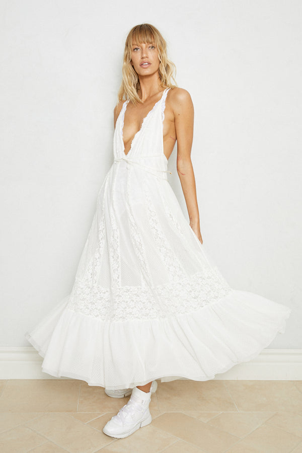 white bridal maxi knit lace dress deep v neck adjustable and lined| Model is wearing Size XS/S